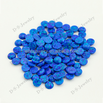 Fire Opal Gemstone,Blue Opal Bead,Round Cabochon Synthetic Opal