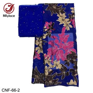 High Quality beaded silk fabric flower printed fabric for woman dress