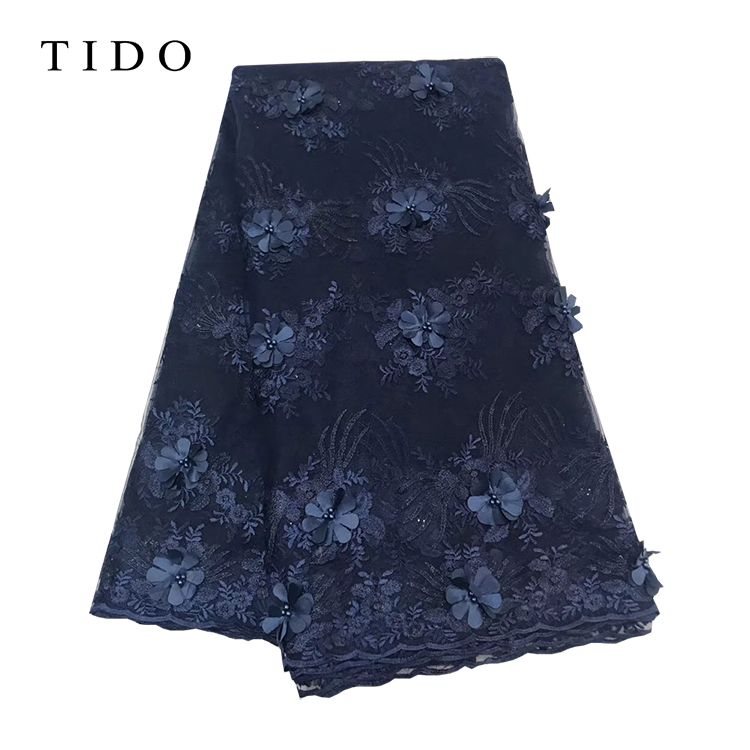 African Party Dress Fabric Nigerian Beaded Navy Blue French Net Lace Wine Red Tulle Lace
