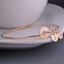 2017 Rose Gold Plated Identification Tag children&kids ID Bracelet,Engraved Name Convertible bangles