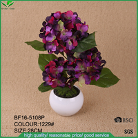 Factory direct high quality silk artificial hydrangea flower with pot