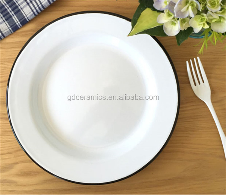 Wholesale Factory Enamelware Dinner Plate, logo printed metal enamel tray