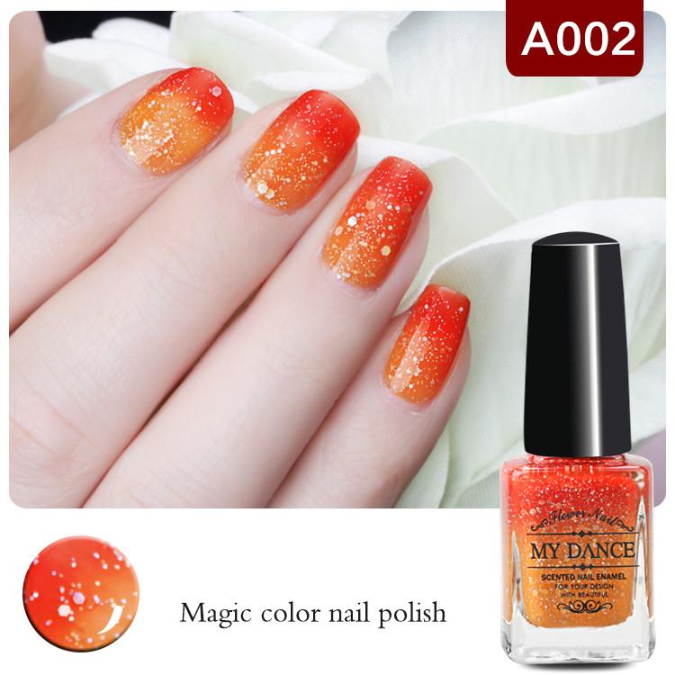 1 Bottle 6ml Peel Off Orange Red Color Changing Nail Polish Shimmer Thermal Nail Polish Nail