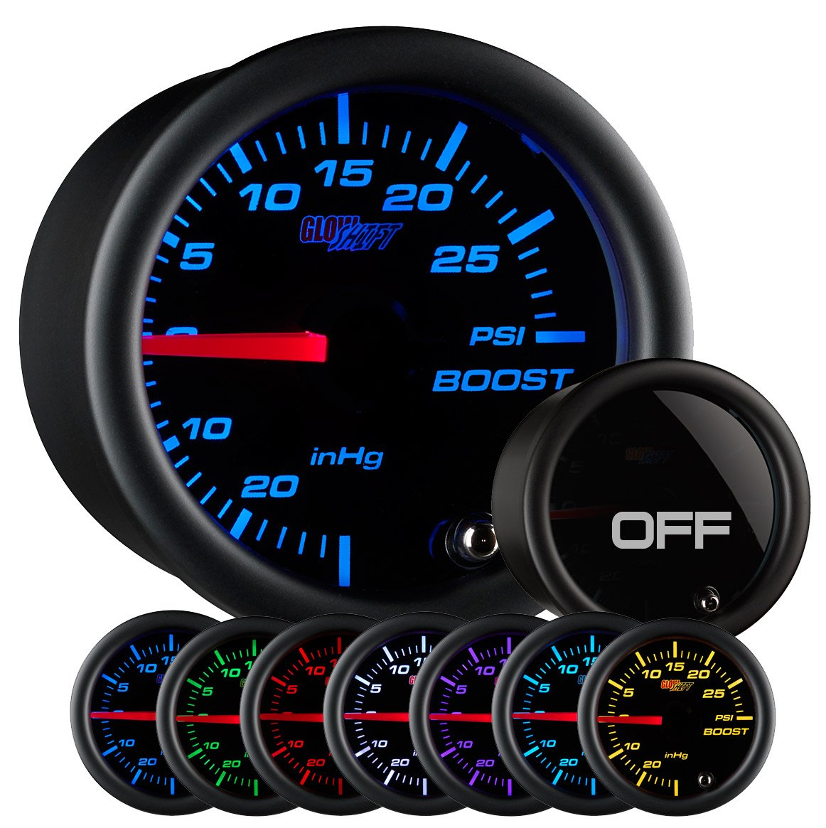 GlowShift 52mm Tinted 7 Color 0-30 inHg/0-30 PSI Boost/Vacuum Gauge for Car Truck - 7 Color LED Backlighting - Black Face - Tinted Lens