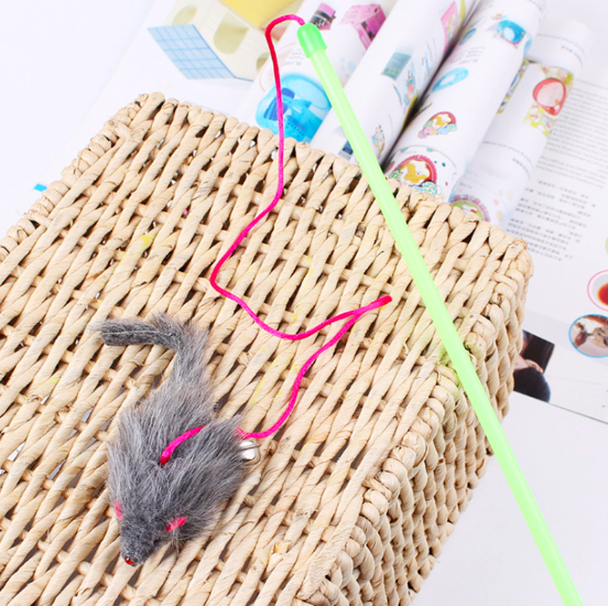 2019 Factory New Design Soft Feather Ringing Ball Teaser Plastic Cat Toys Cat Teaser Stick