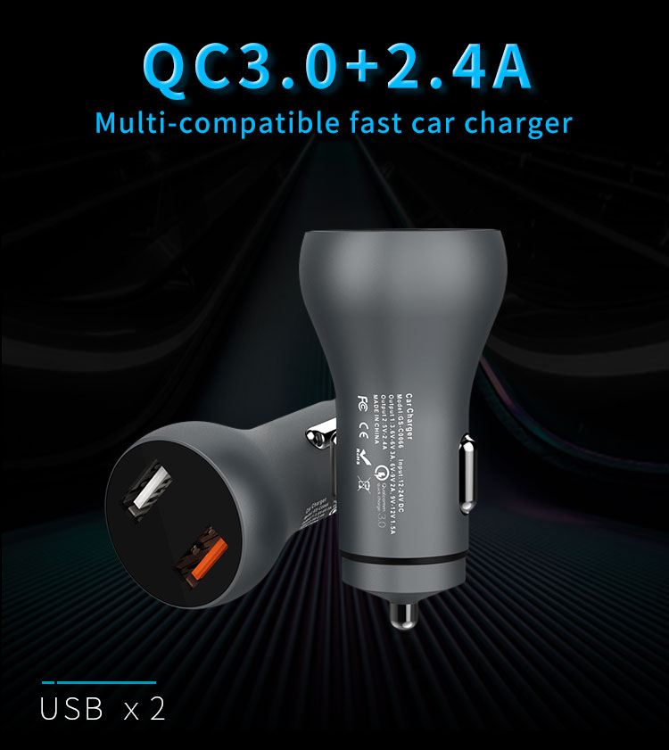 30W 2 USB car charger Quick Charger 3.0 Fast Charging for Mobile Phone