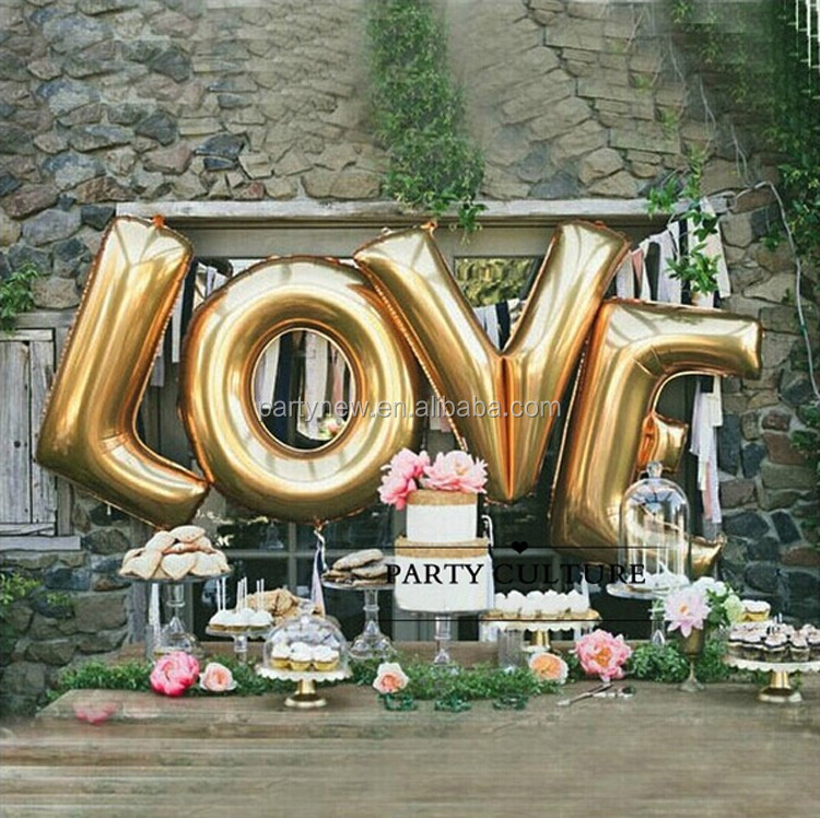 Baby Golden A To Z Letters Aluminum Foil Balloon Wedding Birthday Party Decoration Helium Balloon Buy Number Balloon Foil Balloon Giant Balloon