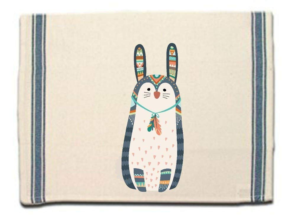 Tribal Bunny Rabbit Kitchen Towel,Dish Towel, Tea Towel,Flour Sack Material,Woodland Tribal Animals Dish Towels,Flour Sack Kitchen Towel,Dish Cloth