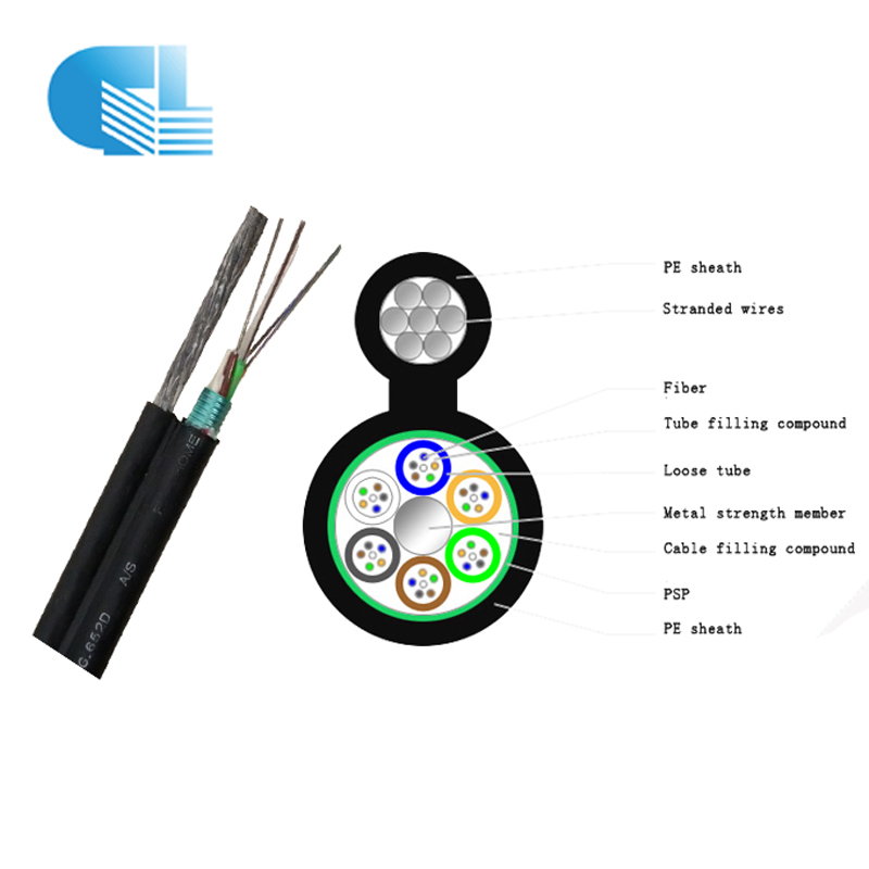 Armored figure- 8 self-supported 96 core fiber optic cable GYTC8S