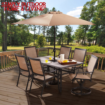 Patio Dining Furniture 6 Seaters Ceramic Tiles Square Table Set