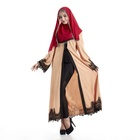 Muslim new retro lace loose turkey muslim open kaftan prayer colour abaya dress
