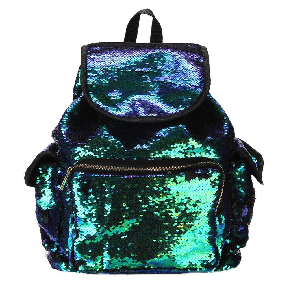 Women Teen Girls Bling Sequins Backpack Purse Drawstring Shoulder Bag Casual School Bag Travel bag Daypacks