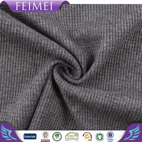 feimei 2015 new product 60% cotton 40% poly rib collar sleeves band waffle fabric wholesale