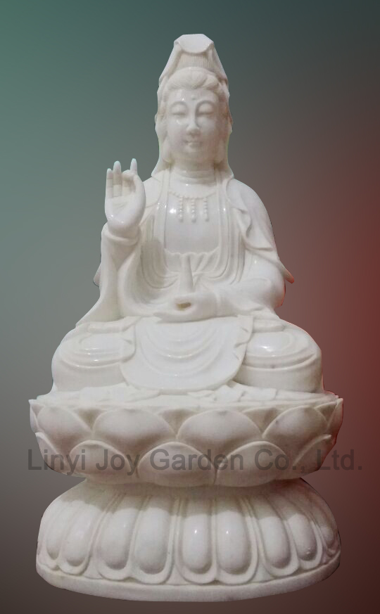 Factory Wholesale Sitting White Marble Kuan Yin Statue