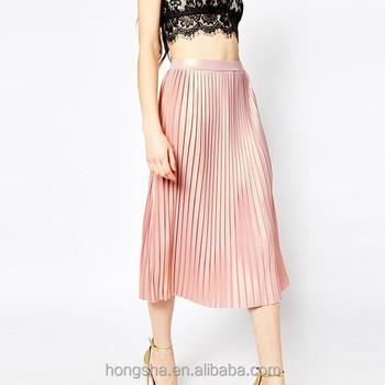 677f39e3c Latest Women Metallic Foil Pleated Midi Skirt Hss9160 - Buy Midi ...