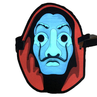 Music Led Flashing EL Panel Party Costume Mask with Sound Active for Dancing, Riding, Skating, Party and Any Festival