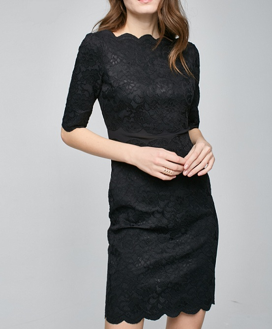 OEM Fashion Women Dress Short Lace Dress With Elbow Sleeve