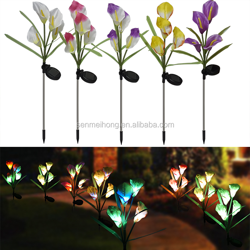 Outdoor Solar Christmas Lights artificial Flower Light Lamp Calla Shape For Outdoor Yard Lawns Balcony Path Party Decoration
