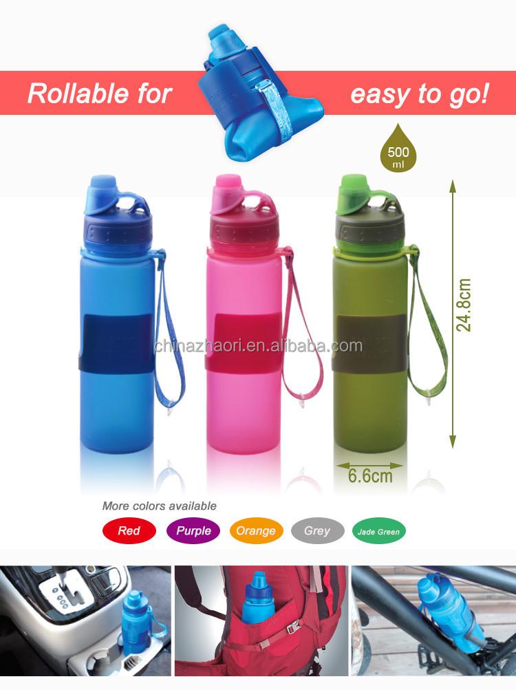 Coloré Bouteille Squeeze Silicone Bottle Bouteille D/'Eau Sport Bouteille 650 Ml