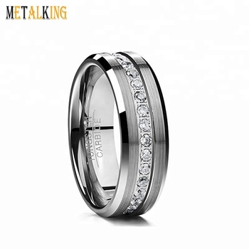 a313b86181f35 Men's Women's Eternity Cubic Zirconia Tungsten Wedding Engagement Ring  Brushed Finish Band Polished Beveled Edges Comfort Fit, View womens  tungsten ...