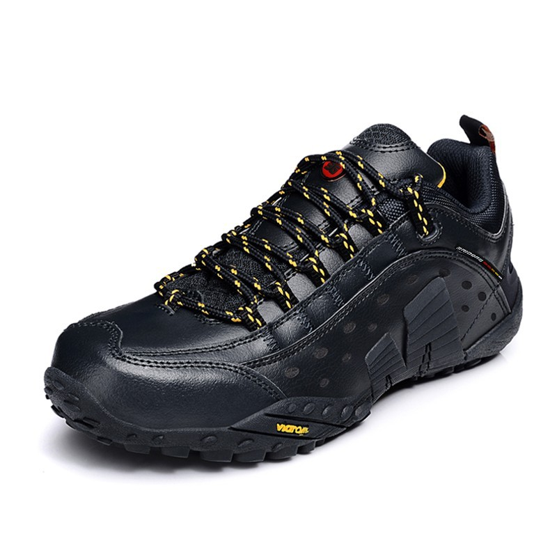 2015 Hot sale genuine leather lace up men cheap hiking shoes