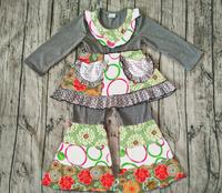 wholesale children's boutique clothing colorful dot print outfits unique baby clothing 2017