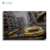Car poster oil painting art iron safety door design painting sunny beach yellow car artwork