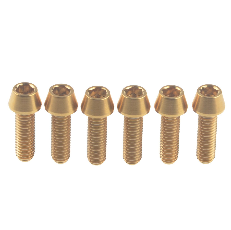Wanyifa Titanium Ti Conical Socket Screw Bicycle M5 x 18mm Taper Head Gold Bolt