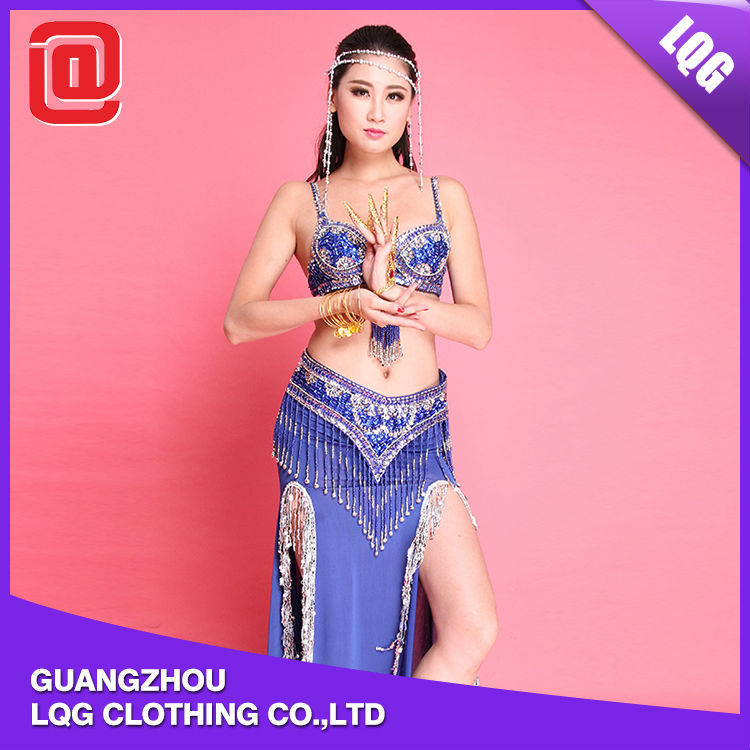 Pretty high-slit bling beads fringes decorated belly party wholesale exotic dance wear