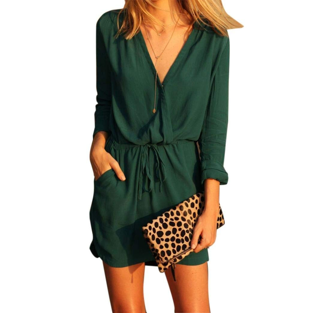 Yuxikong Women Dress,V Neck Green Long Sleeve Party Dress Evening Casual Summer Mini Dress