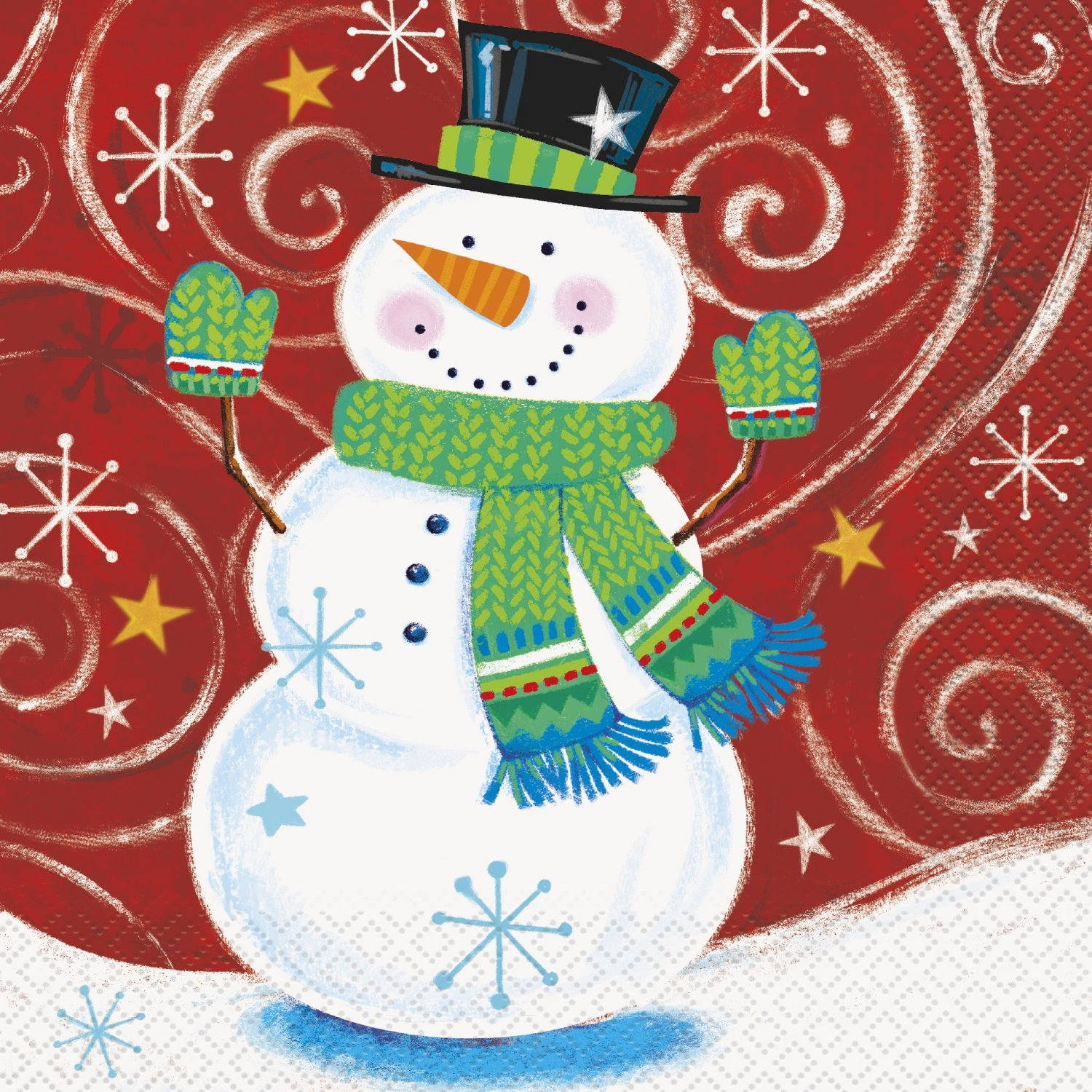 LOLITA BRAND SNOWMAN FROSTY/'S PARTY WINTER MARTINI COCKTAIL NAPKINS 50CT