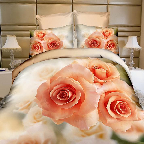 2016 factory made 3D printing flower 4pcs king size silk bed sheet