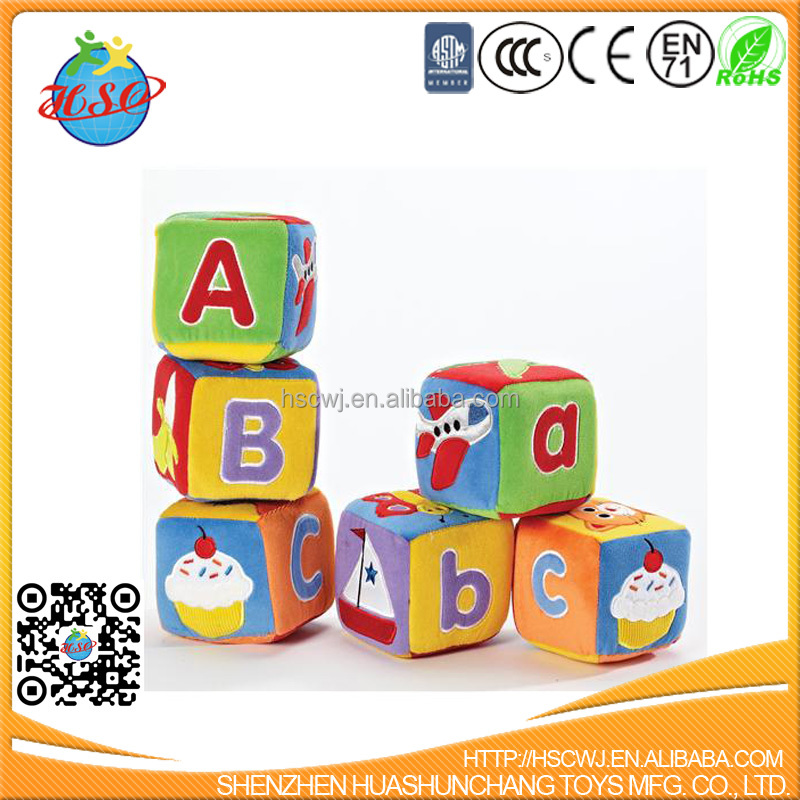 Educational 3D Feature Soft Colorful Pattern Plush Stack Blocks Cube with Rattle for Baby Infant