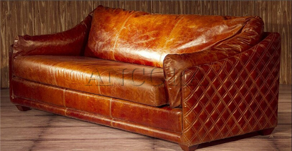 Vintage Used Chesterfield Leather Sofa Set A112 3S