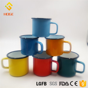10cm superior enamel mug with rolling rim square handle