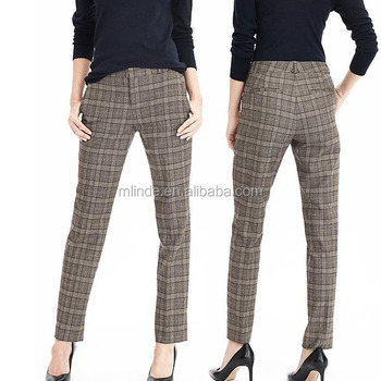 54bceca78 Custom Women's Ankle pants Classic Pull-On Straight-Leg Slim Pant Ryan  Plaid Lightweight