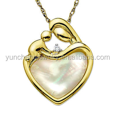 YCP7004 Mother and Children Sterling Silver 16K Gold Plated Pendant