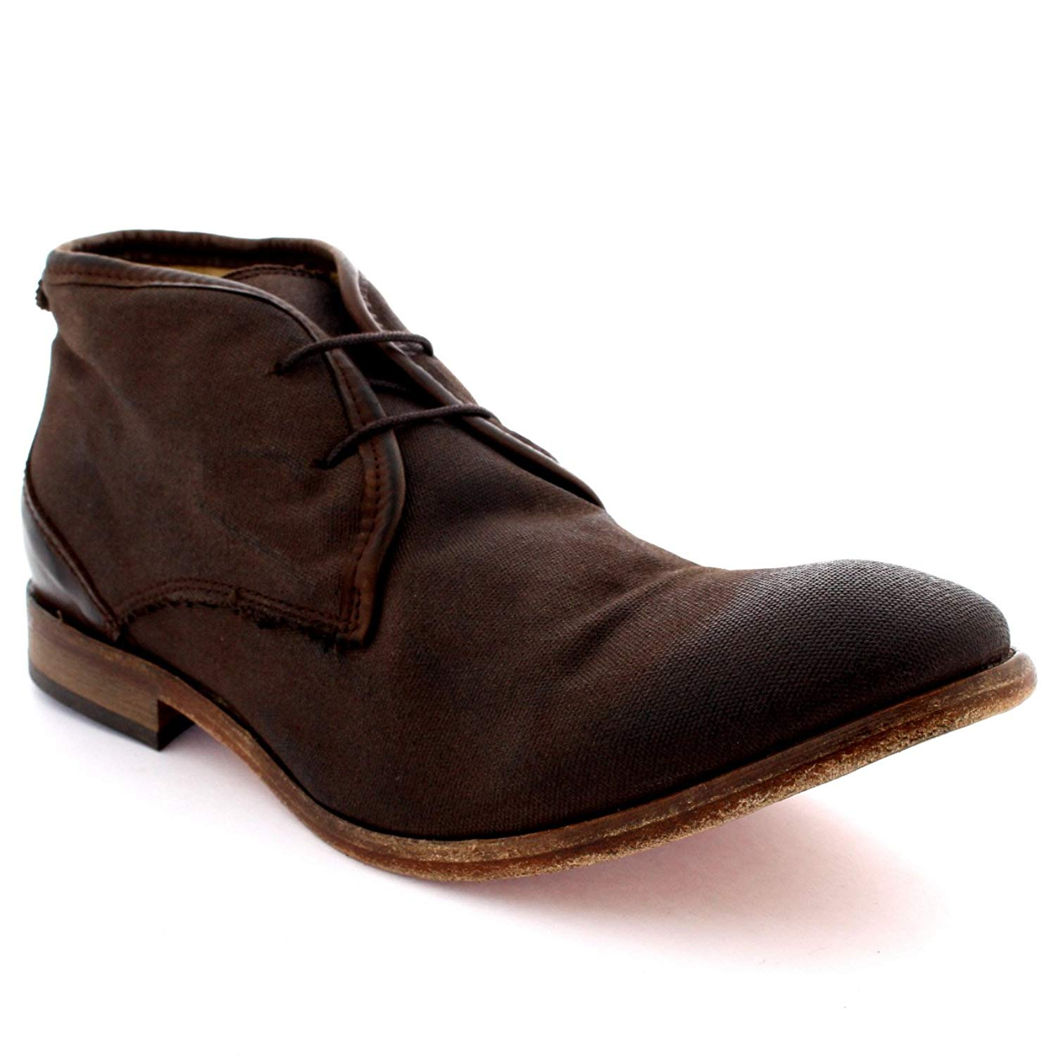 Mens H by Hudson Cruise Ankle Boot Canvas Laced Work Office Chukka Boots
