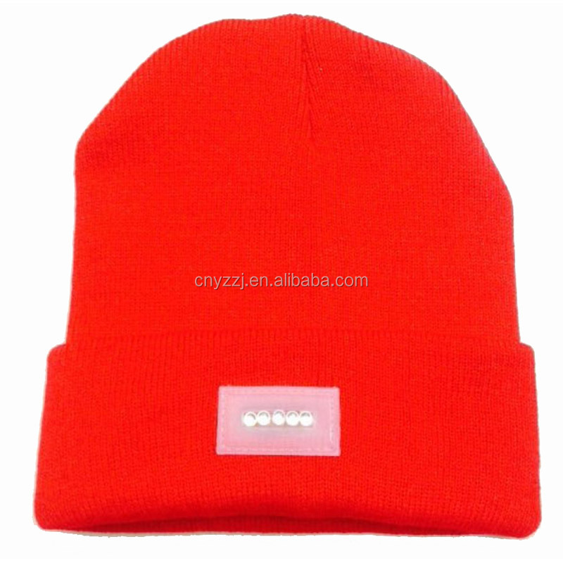 High Quality Name Brand Fleece Knitted Winter Beanie Hat With Led Light