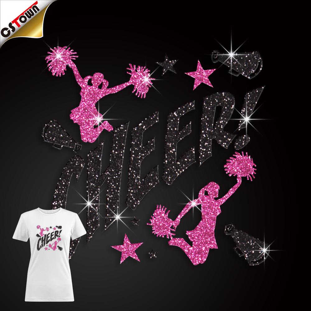 Atacado custom made cheerleading glitter calor transferência de pedra hotfix design