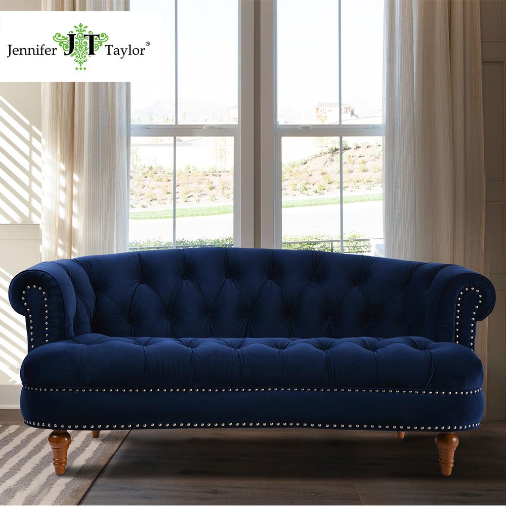 Muebles de salón de estilo europeo tufted Botton terciopelo loveseat ...