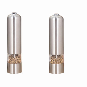Wholesale Electric Salt and Pepper Grinder Set | Battery Operated Stainless Steel Grinders (Pack of 2)