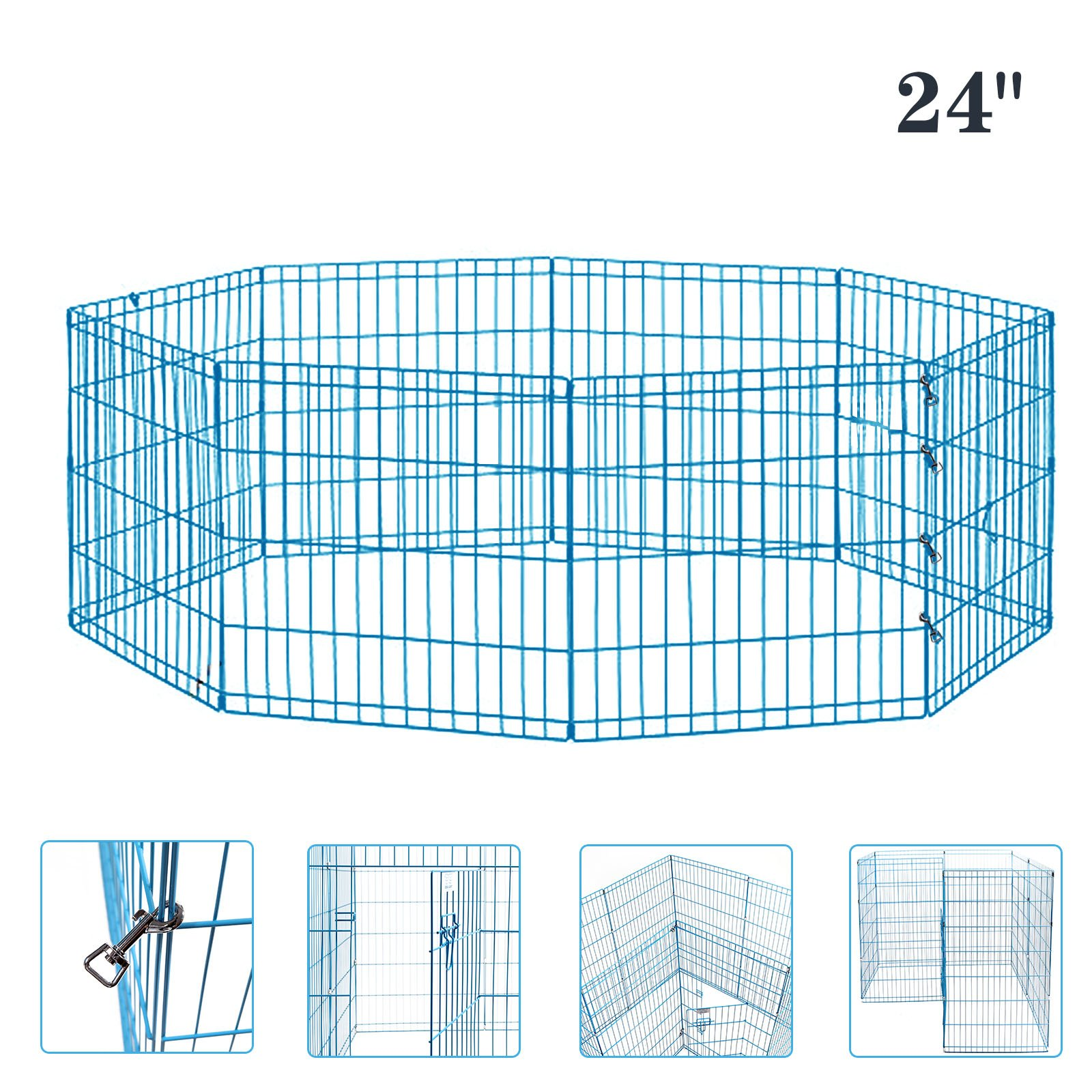 Idealchoiceproduct Pet Playpen Pet Pen Folding Wire Dog Exercise Pen Pet Fence Yard Fence 8 Panel Cage 24-42 Inch-Blue Color