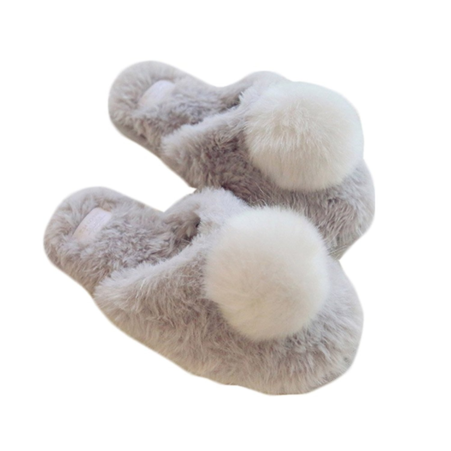 SOCOMP Women's Cute Soft Plush Furry Fur Ball Warm Cozy Winter Slippers Home Slipper Indoor Shoes New Year Gift(Gray)