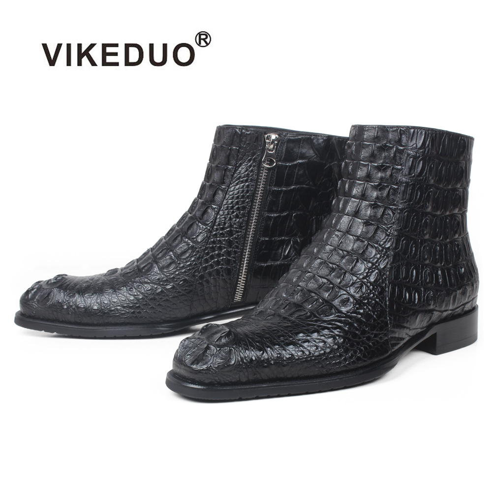 Vikeduo Hand Made China Footwear Boutique Fashion Collection Crocodile Black Boots Exotic Leather Men Shoes