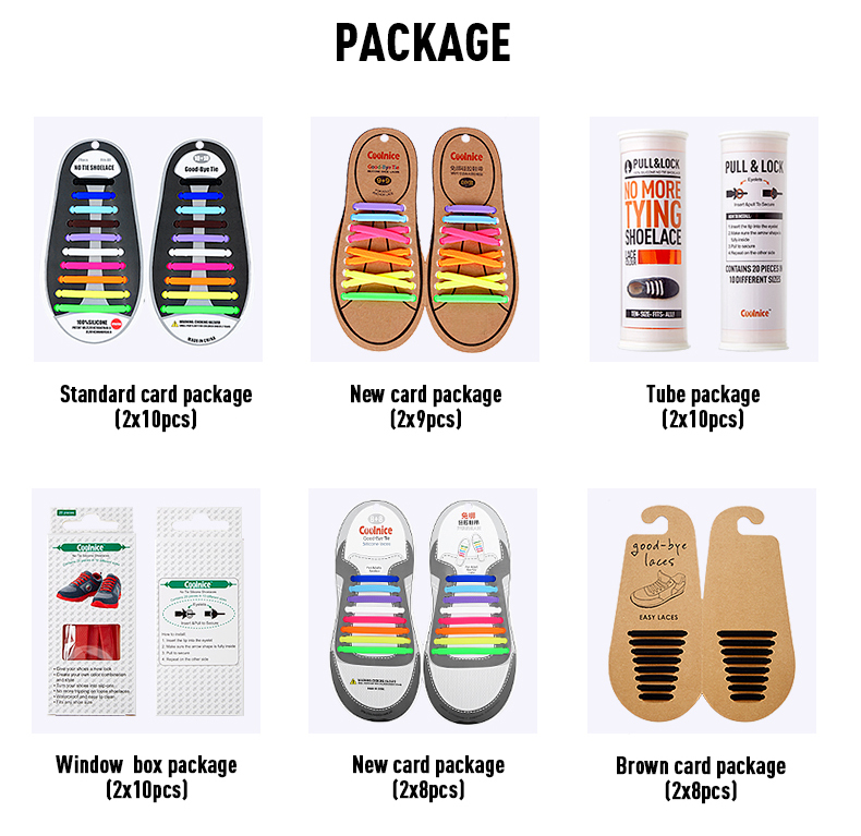 Nice packaging tie-free premium rainbow rubber silicone shoelace