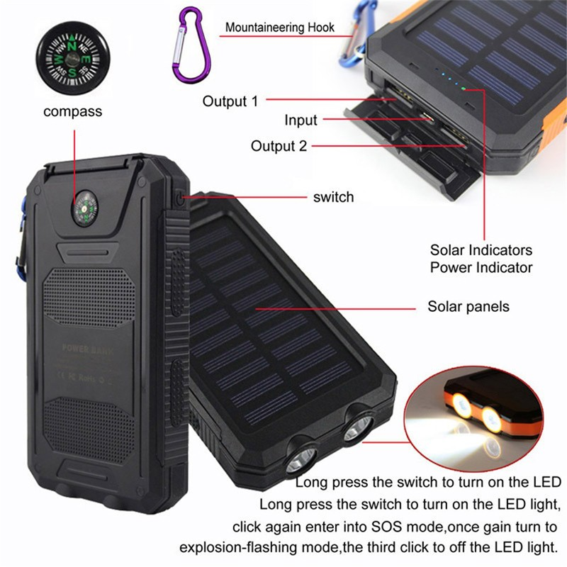 Hubungi Supplier RoHS Solar Power Charger Outdoor Tahan Air Power Bank