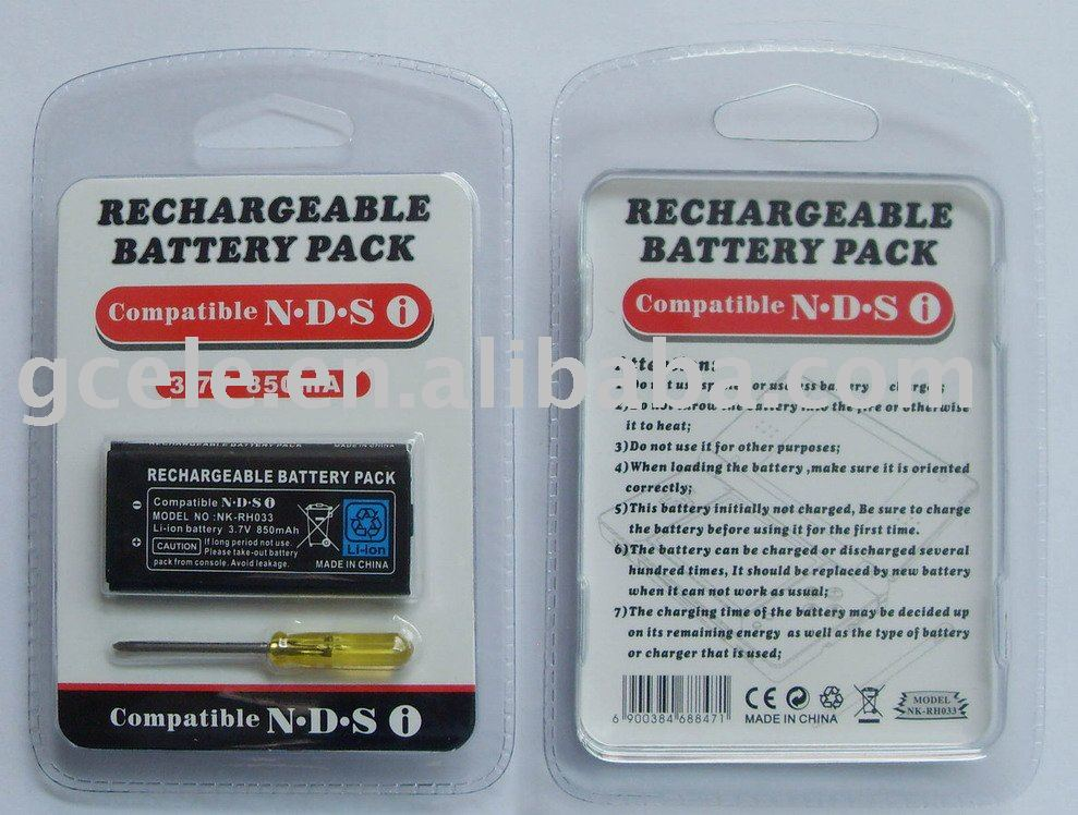 3.7V 850mAh rechargeable battery pack for NDSI with tool