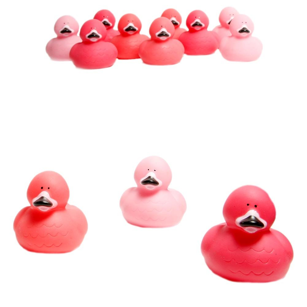 Fun Express Pink Flamingo Rubber Ducks, (2 Inches Length x 2 Width x 2 1/2 Inches Tall) (1-Pack of 12)