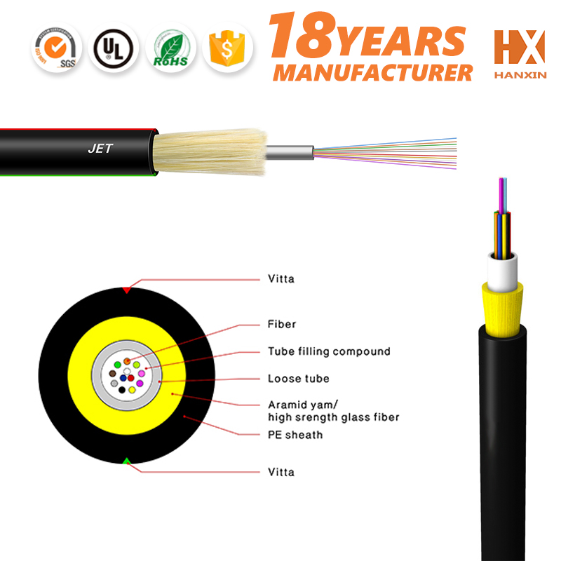 JET Non-metallic Micro fiber optic Cable bare fiber indoor/outdoor fiber ptic cable with small diameter 4.5mm/5.0mm/6.0mm
